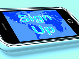 Sign Up Mobile Screen Shows Online Registration