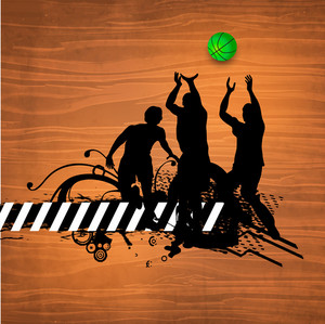 Silhouette Of A Basketball Players Playing Match On Wooden Background.