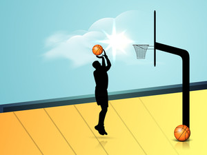 Silhouette Of A Basketball With Basket Ball.