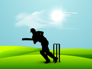 Silhouette Of A Batsman In Playing Action
