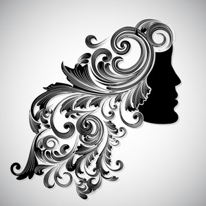 Silhouette Of A Beautiful Girl With Floral Decorated Hairs For Happy Women's Day.
