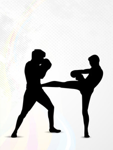Silhouette Of A Boxers During Boxing On  Abstract Grungy Background.