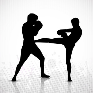 Silhouette Of A Boxers During Boxing On Abstract Grungy Background