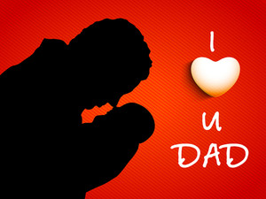 Silhouette Of A Father And Child With Text