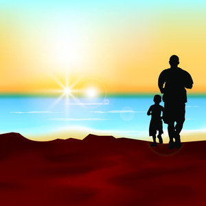 Silhouette Of A Father And His Son Running At Sea Side