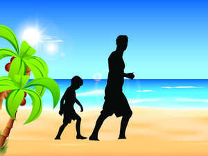 Silhouette Of A Father And Son Enjoying Sunset At Beach