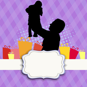 Silhouette Of A Father Holding His Child