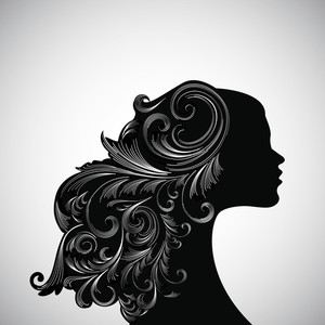 Silhouette Of A Girl With Decorated Hairs