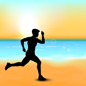Silhouette Of A Man Athlete Running At Seaside.