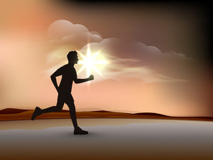 Silhouette Of A Man Athlete Running On Evening Background.