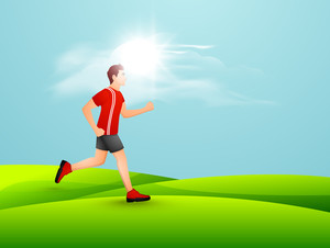 Silhouette Of A Man Athlete Running On Nature Background.
