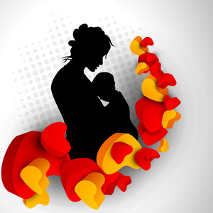 Silhouette Of A Mother And Child With Hearts On Grey Abstract Background