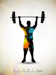 Silhouette Of A Weight Lifter With Heavy Weight On Abstract Red Wave Background.