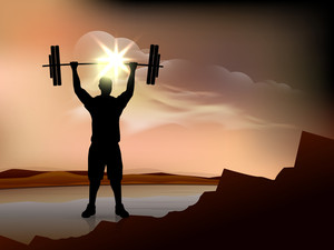 Silhouette Of A Weight Lifter With Heavy Weight On Evening Background.