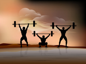Silhouette Of A Weight Lifters With Heavy Weight On Night Background.