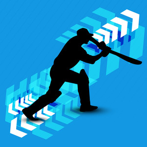 Silhouette Of Batsman In Batting Action On Blue Background.