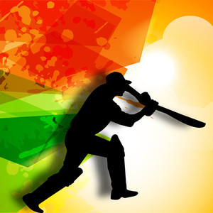 Silhouette Of Batsman In Batting Action On Colorful Grungy Background.