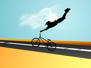 Silhouette Of Bmx Cyclist Is In Air Holding His Cycle.