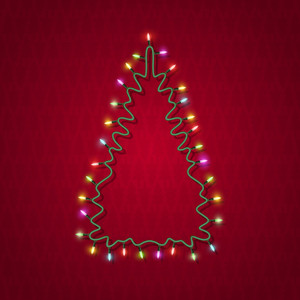 Silhouette Of Christmas Tree Formed Garland Lights