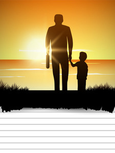 Silhouette Of Father And Child At Sunset