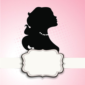 Silhouette Of Girl With Space For Your Message On Pink Background For Happy Women's Day.