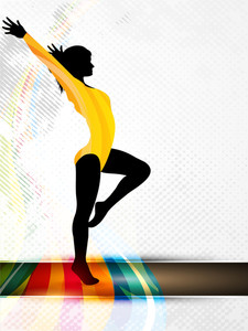 Silhouette Of Gymnastic Girl On Abstract Grungy Colorful Wave Background. Eps10.