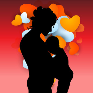 Silhouette Of Mother And Her Child On Red Heart Shape Background