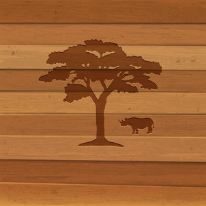 Silhouette Of Rhino And Tree On Wooden Background
