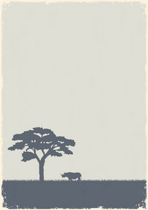 Silhouette Of Tree And Rhino