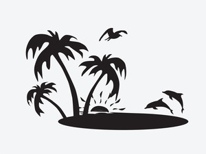 Silhouette Palm Trees On The Beach With Fish
