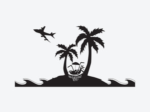 Silhouette Palm Trees With Lounge Chairs And Parasol On The Beach