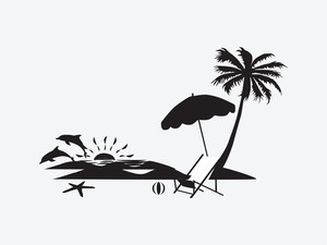 Silhouette Palm Trees With Lounge Chairs
