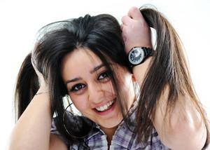 Silly hair holding girl