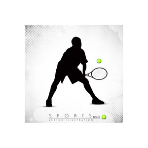 Silthouette Of A Badminton Player On Grungy Dotted Background.