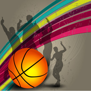Silthouette Of A Basketball Player And Basketball On Grungy Colorful Wave Background With Happy Audiance Silthouette.