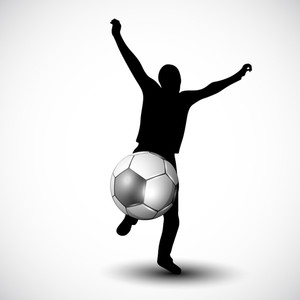 Silthouette Of A Football Player With Shiny Soccer Ball Isolated On Grey Background.