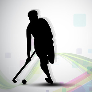 Silthouette Of A Hockey Player With Hockey Stick And Ball On Colorful Abstract Wave Background.