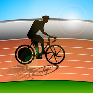 Silthouette Of A Racing Cyclist Performing Fast Cycling On Race Track Background.