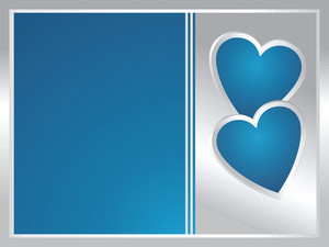 Silver And Blue Frame With Two Heart