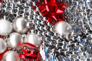 Silver And Red. Christmas Decorations