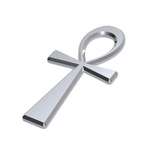 Silver Ankh Symbol Isolated On The White.
