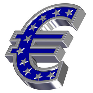 Silver-blue Euro Sign With Stars Isolated On White