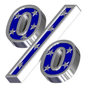 Silver-blue Percent Sign With Stars Isolated On White