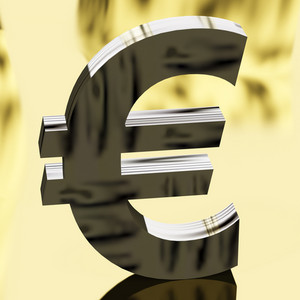 Silver Euro Sign As Symbol For Money Or Wealth