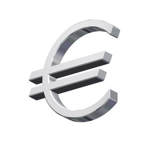 Silver Euro Sign Isolated On White.
