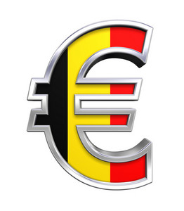 Silver Euro Sign With Belgian Flag Isolated On White