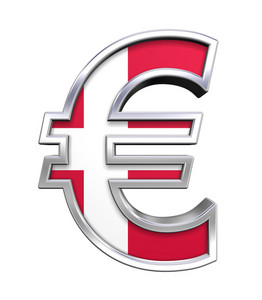 Silver Euro Sign With Danish Flag Isolated On White.