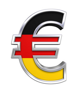 Silver Euro Sign With Germany Flag Isolated On White.