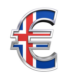 Silver Euro Sign With Iceland Flag Isolated On White.