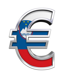 Silver Euro Sign With Slovenia Flag Isolated On White